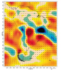 Fluxos e convergência de umidade para dias de cheia intensa no Rio Doce.